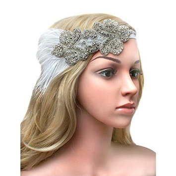 BABEYOND 1920s Flapper Headpiece Roaring 20s Feather Headband Roaring 20s Gatsby Hair Accessories [Style1-white]