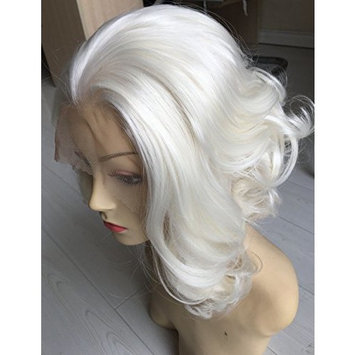 Short Curly Bob Wigs Blonde Synthetic Lace Front Wig Glueless for White Women Heat Resistant Fiber Hair Half Hand Tied
