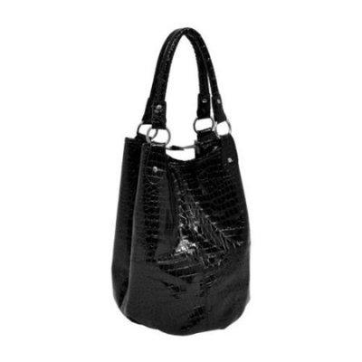 Parinda Adria Croco Embossed Faux Leather 4 Piece Tote Set - Black