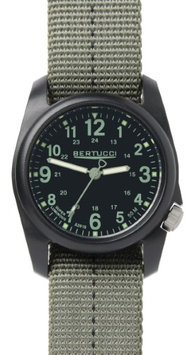 Bertucci Mens DX3 Plus Resin Case and Green Nylon Strap Black Watch - 11040
