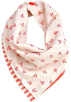 Kishu Baby White & Coral Nautical Reversible Bandanna Bib - Infant
