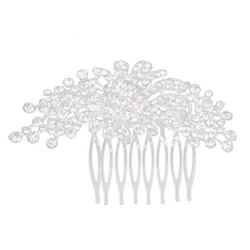 SODIAL(R)Silver Elegant Floral Rhinestone Hair Comb Slide Bridal Hair Accessories 8.8 x 6cm