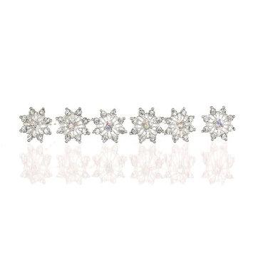 Set of 6 Snowflake Flower Crystal Hair Pins Silver Plating H106