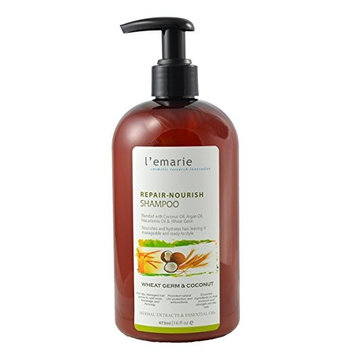 L'emarie Wheat Germ and Coconut Oil Shampoo - Daily Moisture Shampoo to Repair and Nourish Hair | For Damaged Hair - Split Ends, Weak, Rough, Dull and Dehydrated Hair | for Men and Women 16 oz