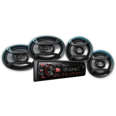 Pioneer Bluetooth Car Stereo Receiver Bundle with Two 6.5