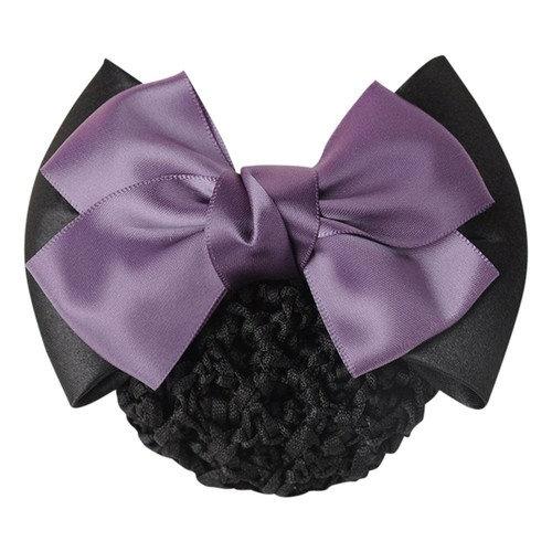 Braceus Womens Ruched Bowknot Decor Snood Net Bun Cover Barrette Hair Clip - Purple