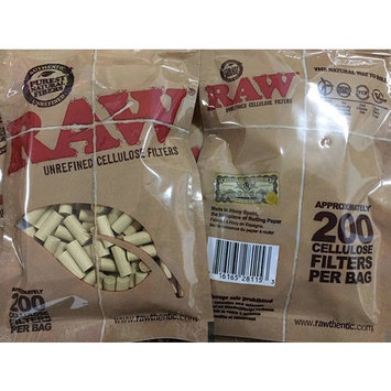 RAW Natural Unrefined Rolling Papers - Slim Cellulose Filters - (1) 200 pc Bag