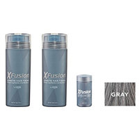 Xfusion Keratin Hair Fibers,Two Pack Value 2 x 28 gr / 0.98 oz GRAY/FREE Refillable 3 gr Travel Size Fibers ($8.00 Value) …