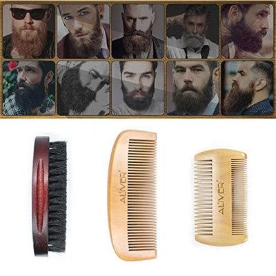 Beard Grooming & Trimming Kit for Men Care - 3Pcs Resin Handle Shaving Shave Brush Black Badger Hair Barber Salon Tool for Shaping & Styling by Alonea