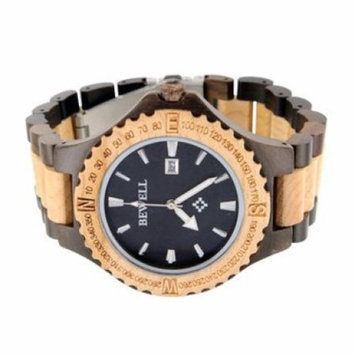 Bewell Maple Sandalwood Watch Date Function Round Face Analog Wooden Collection