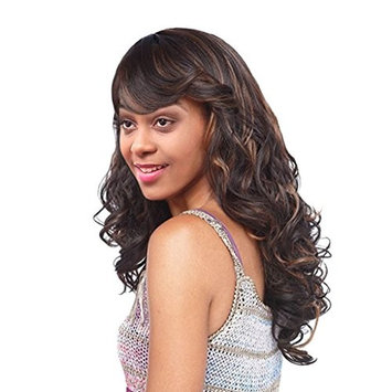Dovewill Women Long Synthetic Blend Curly Wavy Hair, Full Wigs Oblique Bangs Hairpieces, Daily Wedding Party Use, Heat Safe 60CM+Cap