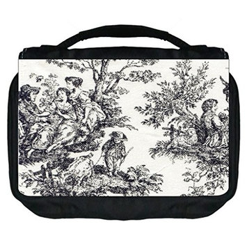 Bohemian Toile PRINT DESIGN- TM Small Travel Sized Hanging Cosmetic/Toiletry Case with 3 Compartments and Detachable Hanger-Made in the U.S.A.