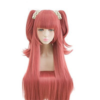 Anime 100cm Long Straight Deep Pink Cosplay Wig Clip Double Ponytails Christmas Party Wigs+ Cap