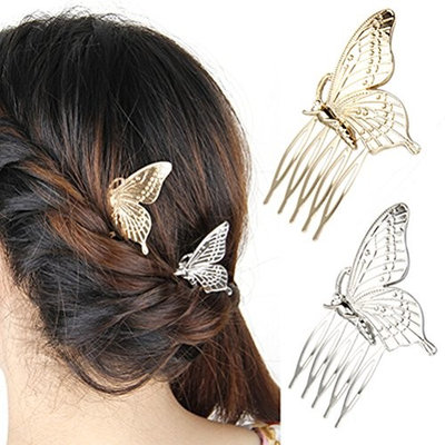 cuhair (TM) HOT! Women's girl wedding Butterfly Alloy metal Hair Comb Headwear Party accessories