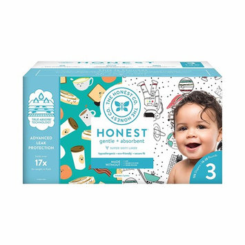 The Honest Company Super Club Box Diapers - Size 3 - Space Travel & Breakfast Print | TrueAbsorb Technology | Plant-Derived Materials | Hypoallergenic | 136 Count [Space Travel & Breakfast]