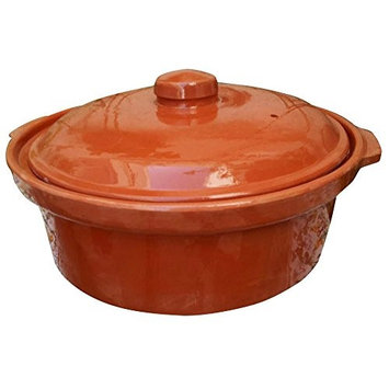 Raphael Rozen Casserole Dish, 10 inch Cooking Tureen, Clay Covered Casserole for Slow Cooking, 3 Quarts, Clay