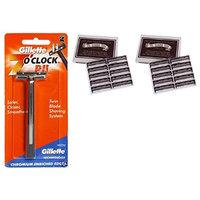 7 O'Clock PII Trac II Razor + Colonel Ichabod Conk Trac II Blade Cartridges 10 ct. (Pack of 2) + FREE Scunci Black Roller Pins, 18 Pcs