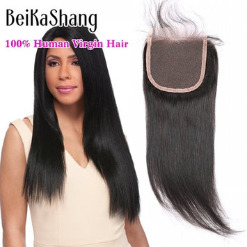 BeiKaShang 4x4 Straight Lace Closure with Bleached Knots Baby Hair Natural Hairline Brazilian Virgin Human Hair Closure Hair Natural Color 3 Part 18