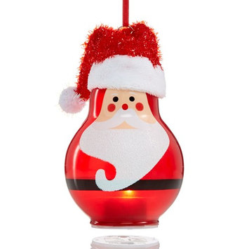 Glass Painted Santa with Fabric Hat Ornament, Created for Macy's