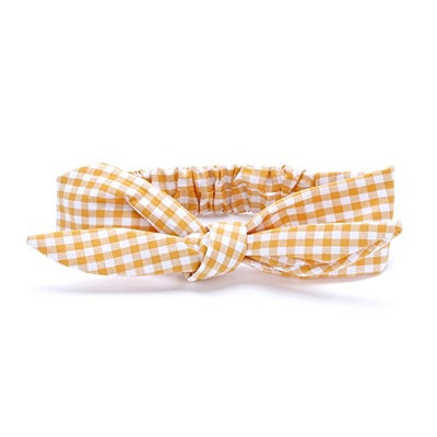 Peppercorn Kids Girls Bow Tie-Up Headwrap (Gingham - Honey Yellow)