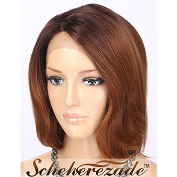 Scheherezade Synthetic Lace Front Wigs Ombre Brown Natural Looking 2 Tones #4/#30 Light Brown with Dark Roots Short Bob Wig L Shape Deep Parting Hair Wigs for Women LDSL800