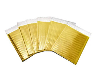Packagingsuppliesbymail Glamour Bubble Mailers-13.75' x 11'-Gold-300 Pieces = 6 Cases