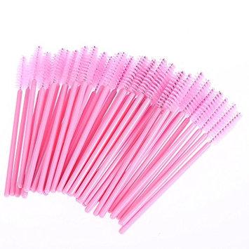 Disposable Mascara Wands Eyelash Extension Brushes 100 Pack (Pink)
