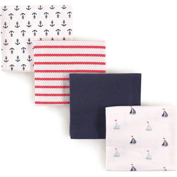 Luvable Friends Baby Boy and Girl Flannel Receiving Blanket, 4-Pack - Boy Sailboats