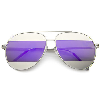 sunglassLA - Two-Toned Matte Metal Brow Bar Color Split Mirror Lens Aviator Sunglasses - 57mm