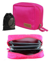 JAVOedge Pink Storage Pouch for Travel, Storage, or Home Organizing with Built in Divider, Bonus Drawstring Bag