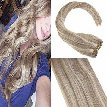Sunny 18inch Clip in Extensions Human Hair Dark Ash Blonde Highlights with Golden Blonde 7pcs Full Head Clip in Remy Human Hair Extensions []