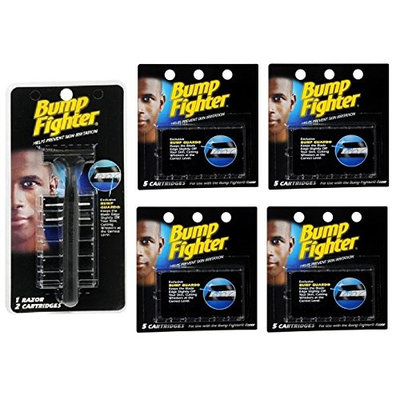 Bump Fighter Refill Razor w/ 2 Cartridges + Bump Fighter Refill Cartridge Blades - 5 ea. (Pack of 4) + FREE Schick Slim Twin ST for Sensitive Skin