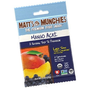 Matt's Munchies Kosher Premium Fruit Snack Mango Acai - Passover - 12 Packets