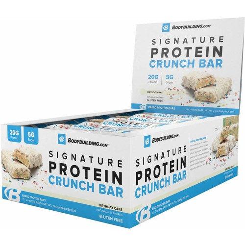 BodyBuilding.Com Birthday Cake Signature Protein Crunch Bar | 20g Whey Protein Low Sugar | Gluten Free No Artificial Flavors | 12 Bars