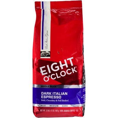 Eight O'clock Coffee Company Eight O'Clock Dark Italian Espresso Roast Whole Bean Coffee, Dark Roasted, 32 oz