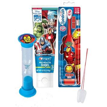 Avengers Iron Man Inspired 3pc Bright Smile Oral Hygiene Set! Turbo Powered Toothbrush, Toothpaste & Brushing Timer! Plus Bonus