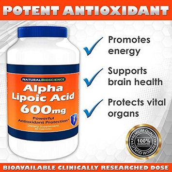 Alpha Lipoic Acid (ALA) 600mg, High Potency ALA Supplement, Powerful Antioxidant, Supports Normal Blood Sugar Levels, 600mg of Pure ALA (Alpha Lipoic Acid) per Capsule, Natural Supplement, 60 Count