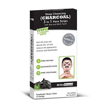 Biomiracle 3 in One Pore Strips | Premium Quality Blackhead Removal Purifying Peel Off Strips (15 Count)