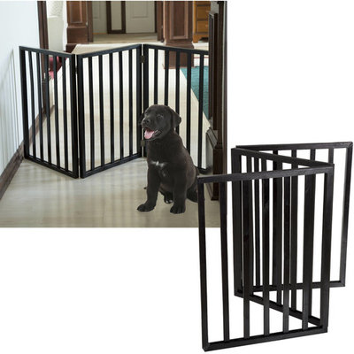 PETMAKER Foldable, Free-Standing Wooden Pet Gate- Light Weight, Indoor Barrier for Small Dogs/Cats by 24 Inch, Dark Brown, Step Over Doorway Fence [Dark Brown]