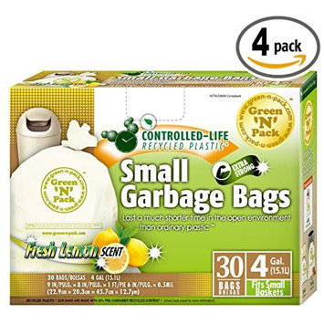 Green N Pack Small Garbage Bags 4 Gallon,30-Count (Pack of 4)