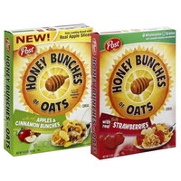 2 Box Breakfast Cereal Bundle, Post Honey Bunches of Oats, With Strawberries - 13 ounce, and Apples and Cinnamon - 14.5 Ounce (Pack of 2)