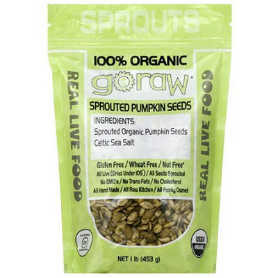 Go Raw Sprouted Pumpkin Seeds, 16 oz, (Pack of 6)