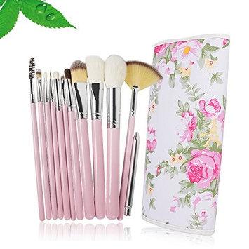12Pcs Makeup Brushes Set Makeup Tools Kit With Rose Organizer Bag