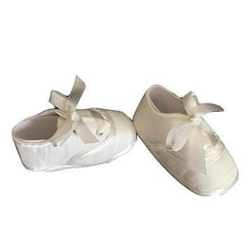 Baby Boy White Satin Christening Baptism Wedding Shoes Ribbon Laces