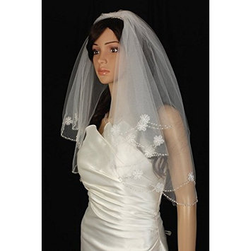 Bridal Veil Diamond (Off) White 2 Tiers Elbow Length Edge With Beads And Flowers by Velvet Bridal