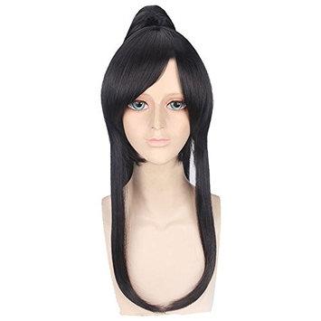 Anime 60cm Straight Black Cosplay Wig Clip On Long Black Ponytail + Free Cap