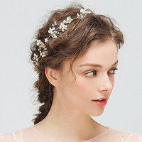 Kercisbeauty Handmade Wedding Bridal Bridesmaids Crystal Beads Leaf and Rose Flower Luxury Adjustable Headband Bridal Headpiece Wedding Hair Vine Hair Hoop Wreath Bridal Hair Accessory
