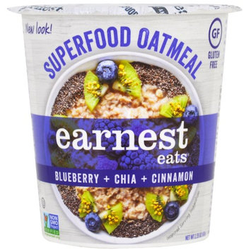 Earnest Eats, SuperFood Oatmeal Cup, Blueberry + Chia + Cinnamon, Superfood Blueberry Chia, 2.35 oz (pack of 12)