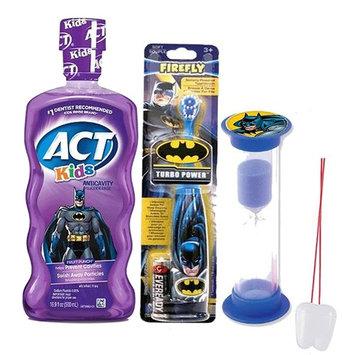 Batman Super Hero 3pc Bright Smile Oral Hygiene Set! Batman Turbo Powered Toothbrush, Anticavity Mouthwash & Brushing Timer! Plus Bonus
