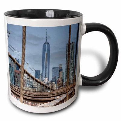 3dRose Freedom Tower from Brooklyn Bridge, Two Tone Black Mug, 11oz